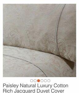 JULIAN CHARLES King DUVET COVER SET Luxury Cotton Rich Jacquard Beige Paisley