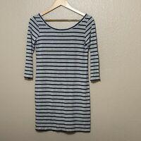 CLUB MONACO black gray striped shirt dress 3/4 sleeve dress sz M Medium