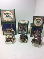 Crystal Falls Village set of 3 Cape May  - Library - Theater Christmas Town 1993