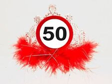 Traffic Sign 50th Tiara With Feathers