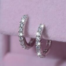 925 sterling silver earrings simulated diamond small classic huggies stamped