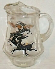 Gazelle Impala Pitcher Vtg Glass Ice Lip Jug Black Gold Trim 9""