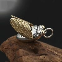 Pure S925 Sterling Silver Bless Lucky Unique Golden Cicada Pendant / 7g