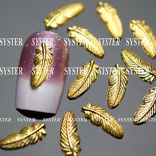 10 Pcs 3D Nail Art Decoration FEATHER Alloy Jewelry Glitter Rhinestone SJ-167