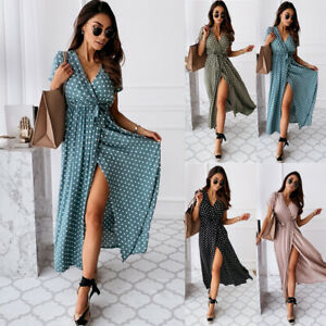 Womens Boho Polka Dot V Neck Midi Dress Ladies Short Sleeve Summer Wrap Sundress