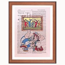 Asterix and Obelix vs Keith Haring .. dictionary page art print collector gift