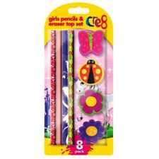 8 Piece Girls PENCILS & ERASER SET Pencil Rubbers School Stationery  School Gift