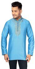 Men's Indian Kurti Mandarin Nehru Collar Kurta Shirt Short Kameez Wedding 2007