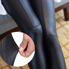 Damen Leggings Lederoptik Schwarz Leggins Kunstleder Stretch Hose Stoff Leggins