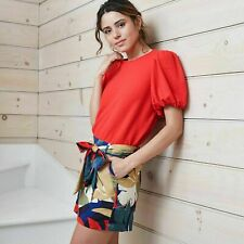 Women's Puff Short Sleeve T-Shirt - A New Day Red Small