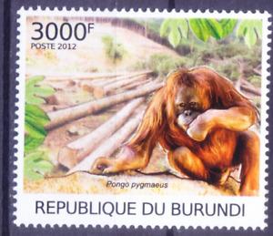 Bornean orangutan, Critically Endangered Monkey, Deforestation, Burundi 2012 MNH