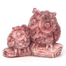 "4.1"" Owls Natural Gemstone AAA Pink Opal Crystal Carved Animal Figurine Decor"