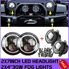 "2X RGB Halo Ring 7"" 40W LED Headlights +2X 4"" 30W Fog Light Ford SUV Wrangler JK"