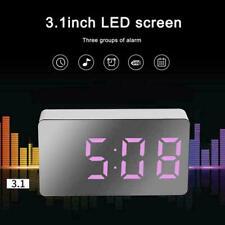 Mini LCD Digital LED Mirror Large Snooze Alarm Clocks USB Time Night Mode H2X2