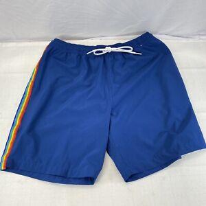 Chubbies Blue Rainbow Stripes Swim Trunks Board Shorts Mens Large mesh insert