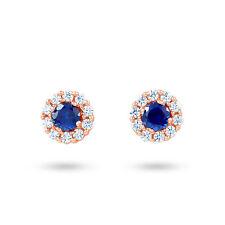 Stud Sapphire Rose Gold Fine Earrings