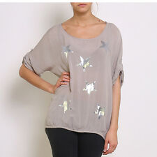Taupe Silver Star Print Silky One Size 3/4 Sleeve Top RRP £45.00
