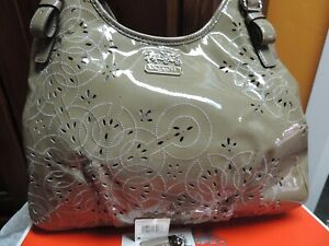 EUC Coach Patent Leather Madison Clove Stitch Perforated Purse Handbag Maggie