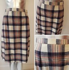 Vintage Beige Tartan Pencil Skirt Size 8/10 Wool Kilt Punk Pink Plaid Check (9)