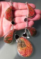 925 silver 88gr striking agate stones & cut garnet 20 inch necklace.