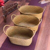 Storage Wicker Weaving Basket For Kitchen Rattan Picnic Food Bread Loaf Case New