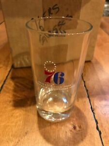 """Vintage 1968 Philadelphia 76ers Eastern Division Champions glass 5"""" Never Used"""