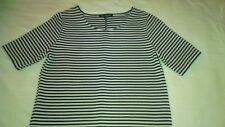 WOMENS WHITE BLACK STRIPES SHORT SLEEVES TOP NEXT SIZE UK 8 EU 36
