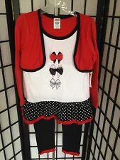 Fisher Price Size 4T Red White & Black Dress Set With Leggins NWT