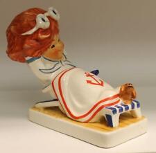 Goebel Redhead Byj 75 Sea Breezes girl sitting on lounge chair Figurine Tmk6
