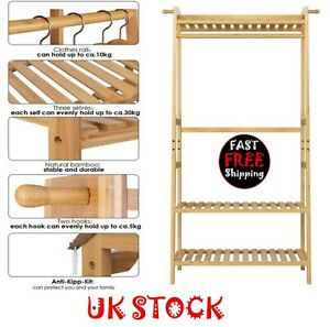 100% Bamboo 3-Layer Portable Practical Storage Clothes Hanger / Plant Stand -UK