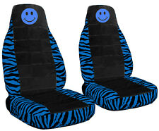 Fits 2014 Ford Focus Blue Zebra Seat Covers with Black Center Light Blue Smiley