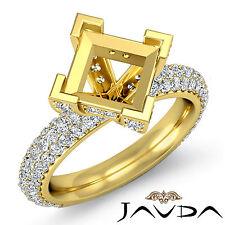 Diamond Anniversary Micro Pave Ring 1.45Ct 18k Yellow Gold Princess Semi Mount