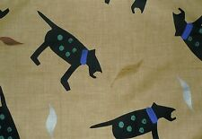 PETER FASANO Bow Wow Wow Dog Animal Black Kraft Cotton Remnant New