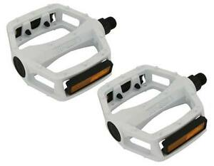 "BMX FIXIE PLATFORM PEDALS VP White 9/16"" Alloy Pedals 9/16 with reflectors NEW"