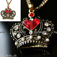 Red RuBy Crown Queen Heart Necklace Pendant 4 Princess Girl Vintage Rare classic