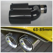 H Style Right Side Glossy Car Thickened Carbon Fiber Exhaust Dual Twin End Tips