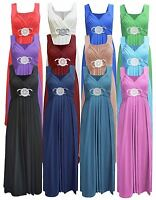 Womens Ladies Plus Size Buckle Ring Front Frankie Flared Party Maxi Dress UK8-26