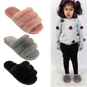 Girls Fur Fluffy Sliders Slippers Slip On Kids Mules Childrens Warm Winter Shoe