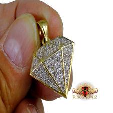 Real 10K Solid Yellow Gold Simulated Diamond Custom Diamond Shape Pendant Charm
