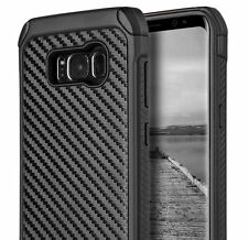 For Samsung Galaxy S8 - HARD HYBRID ARMOR IMPACT PHONE CASE BLACK CARBON FIBER
