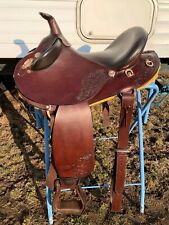 """17"""" brown leather Australian/Western Outback crossover trail saddle"""
