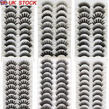 UK 10 Pair 3D Mink False Eyelashes Wispy Cross Long Thick Soft Fake Eye Lashes