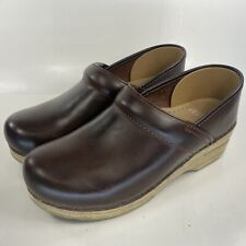 DANSKO Women's Dark Brown Leather Clogs Size: 38 (US 8)