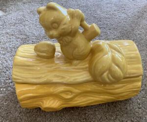 VTG Euro Ceramica Squirrel w/Nut on Log Yellow Ceramic Lidded Cookie Jar Kitchen