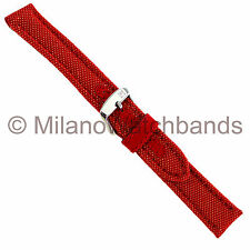 18mm Morellato Padded Stitched Kevlar Textile Insert Red Watch Band Strap