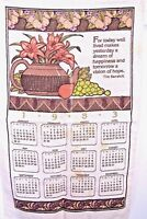 1983 Kitchen calendar linen towel with teapot lilies fruit