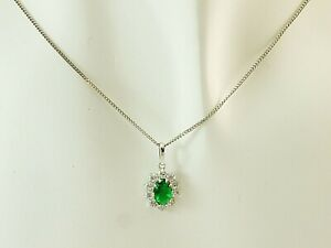 585 Gold 14 Karat Weissgold Kette mit kleinem Anhaenger oval Smaragd