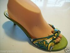 Unlisted Betty Boop Floral Satin Slides Mules Sandals Heels Shoe Size 8.5 cLOSeT