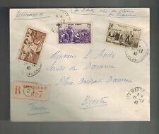 1940 Marseille Vichy France cover to Bizerte Tunisia # B104-B106