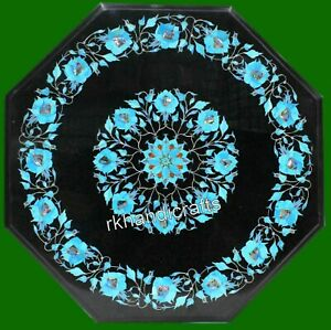 24 Inch Black Marble Sofa Table Top with Turquoise Stone Floral Art Coffee Table